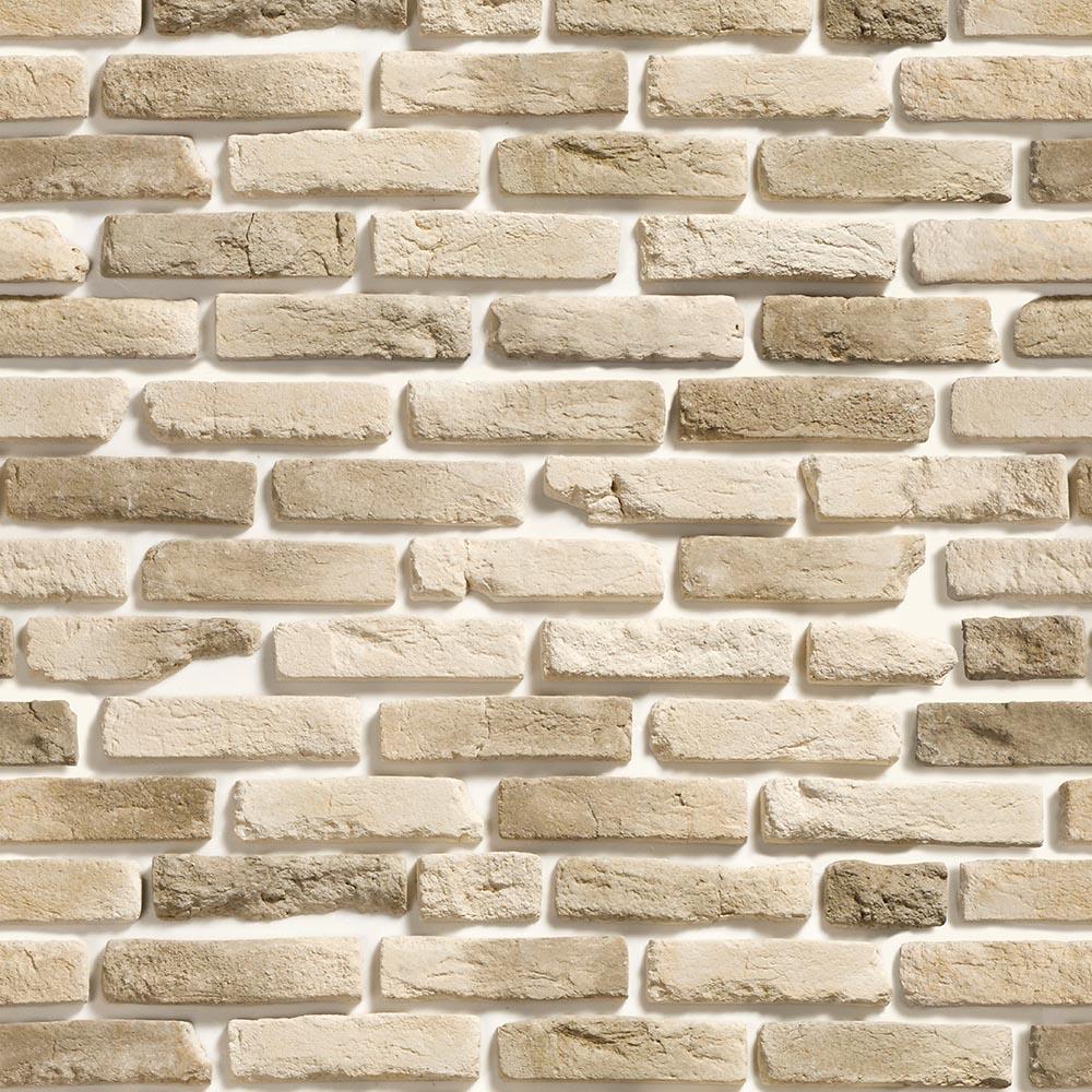 Papel de Parede Pedra Tijolinho Bege