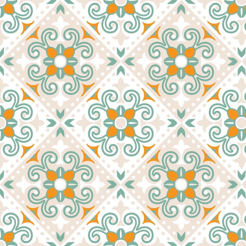 Papel Parede Adesivo Azulejos Diversos Coloridos tons Claros com Laranja