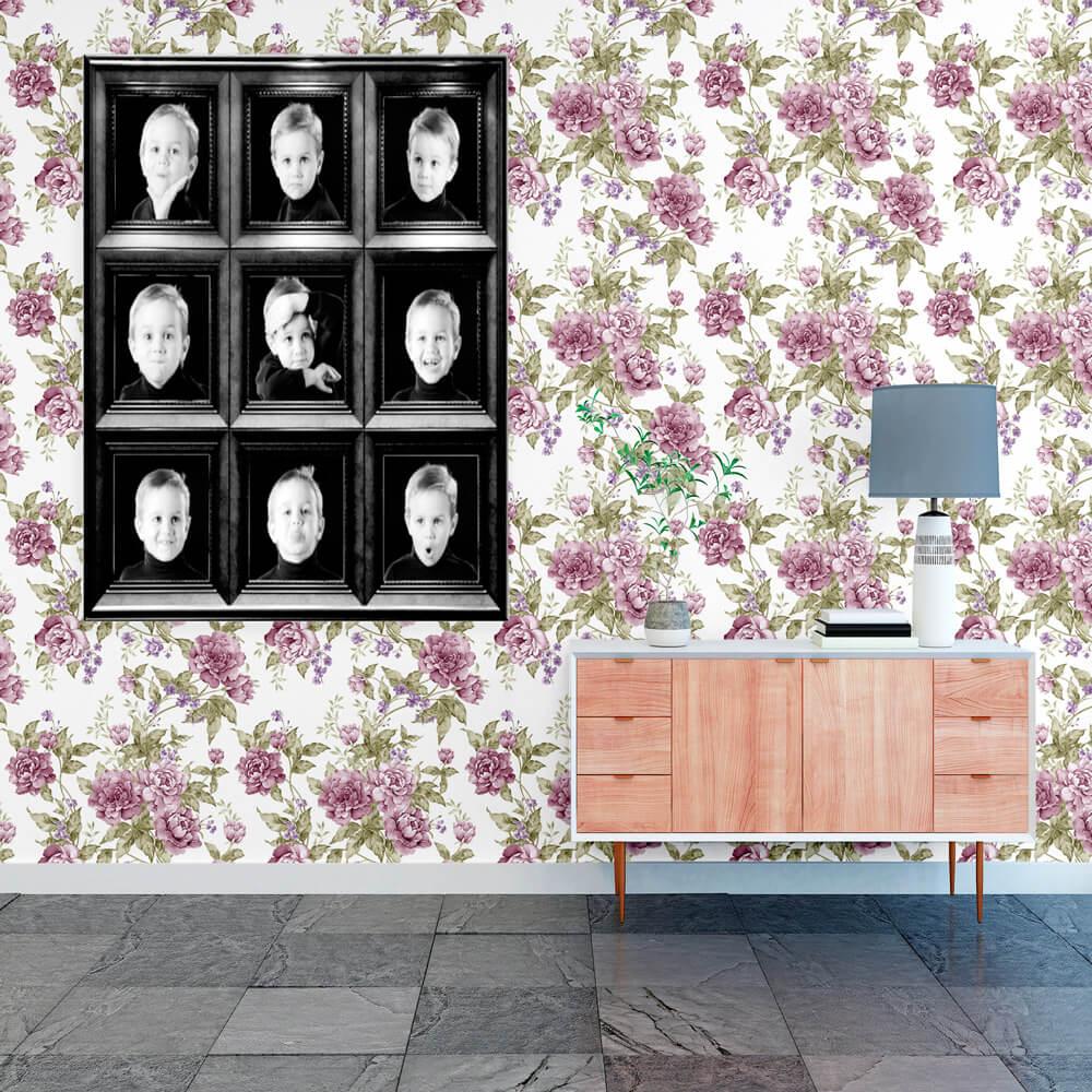 Papel Parede Floral Lilás e Galhos Verdes