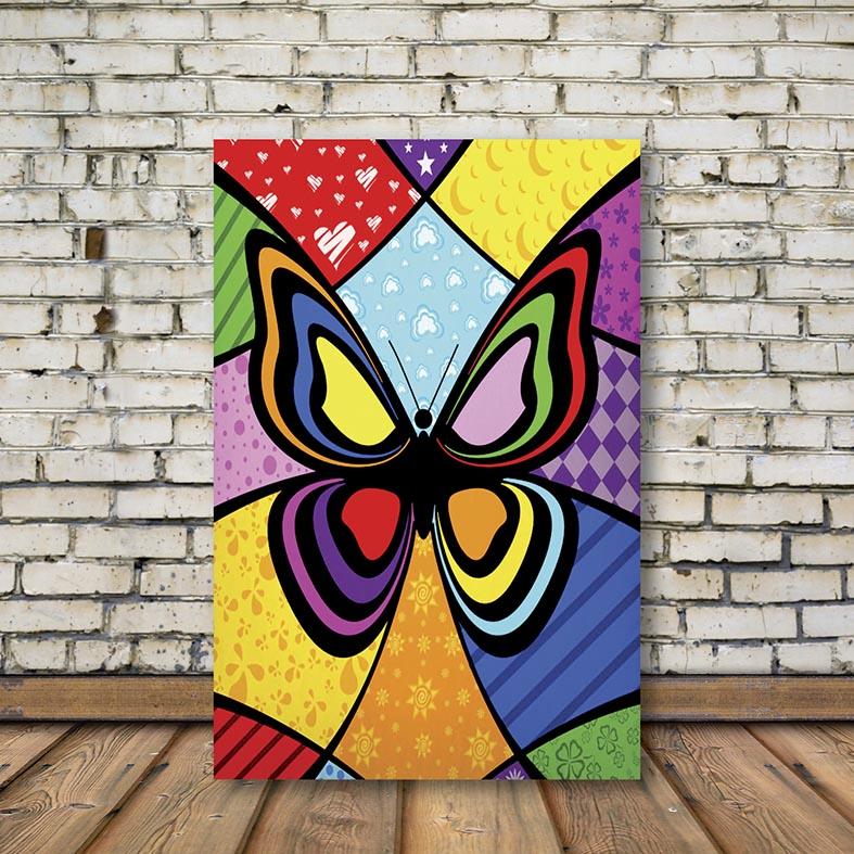 Placa Decorativa Borboleta Colorida