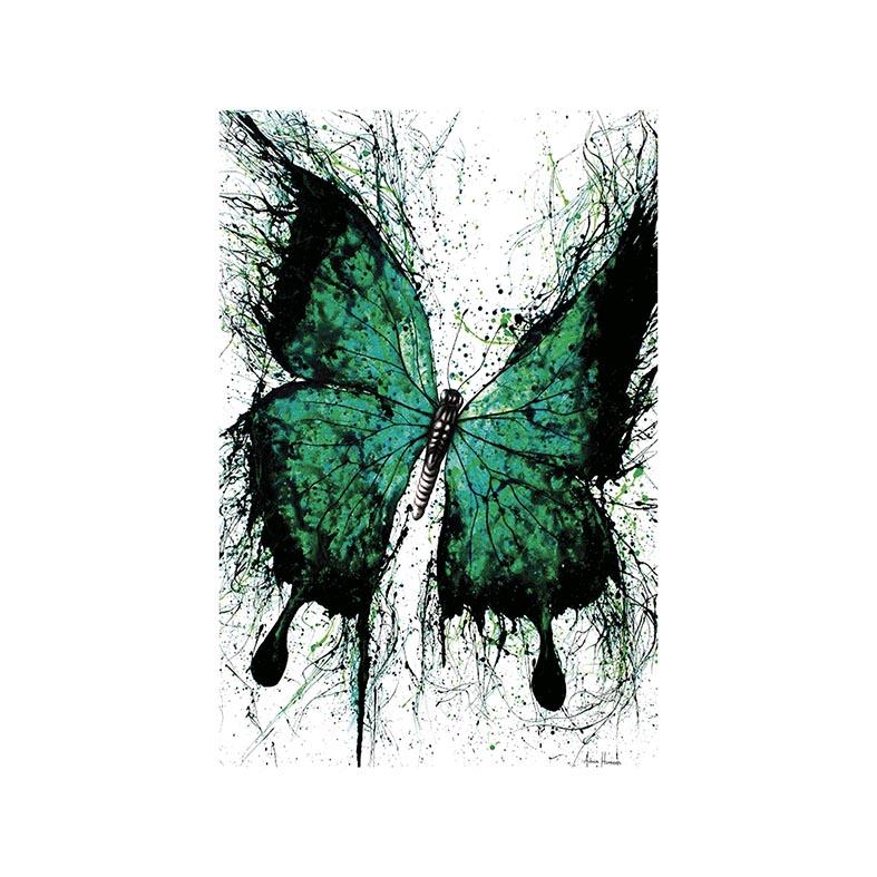 Placa Decorativa Borboleta Verde e Preta Rabiscada