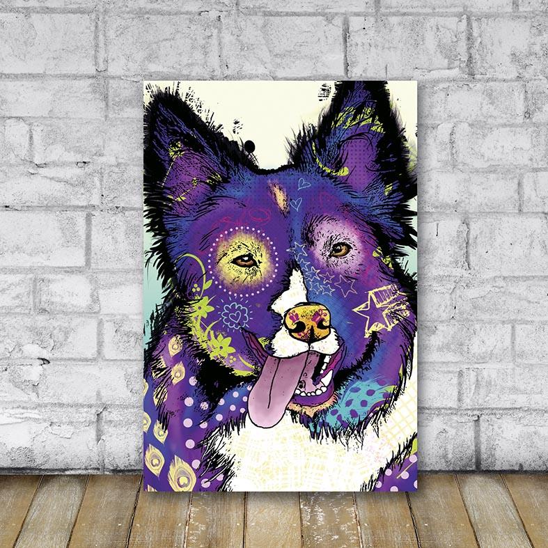 Placa Decorativa Cachorro Roxo
