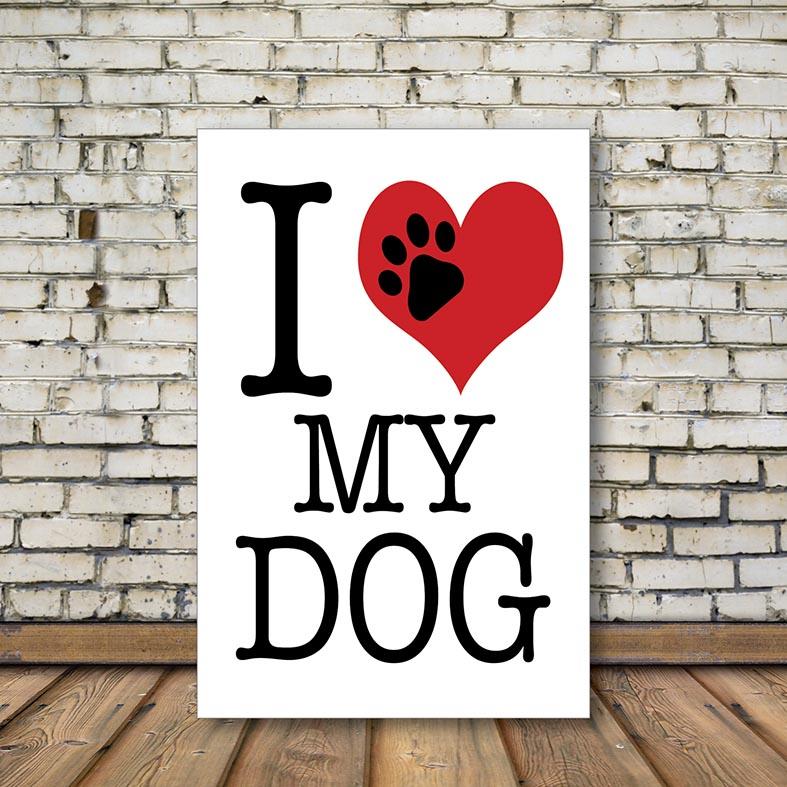 Placa Decorativa Eu Amo Meu Cachorro