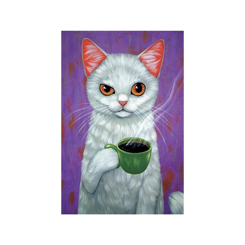 Placa Decorativa Gato Tomando Cafe