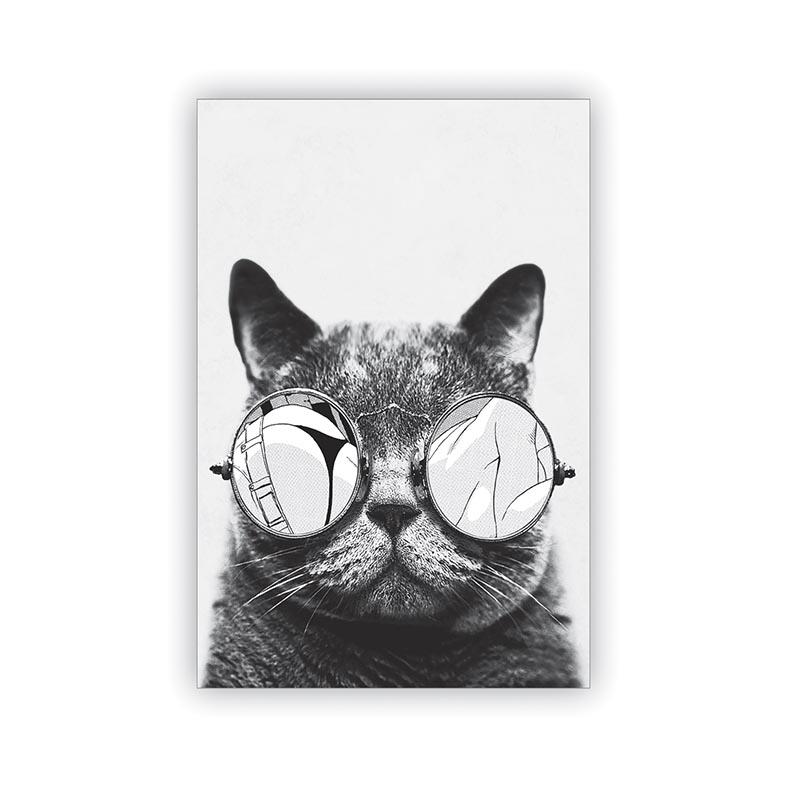 Placa Decorativa Gato de Óculos