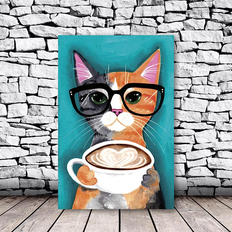 Placa Decorativa Gato de Óculos tomando Café