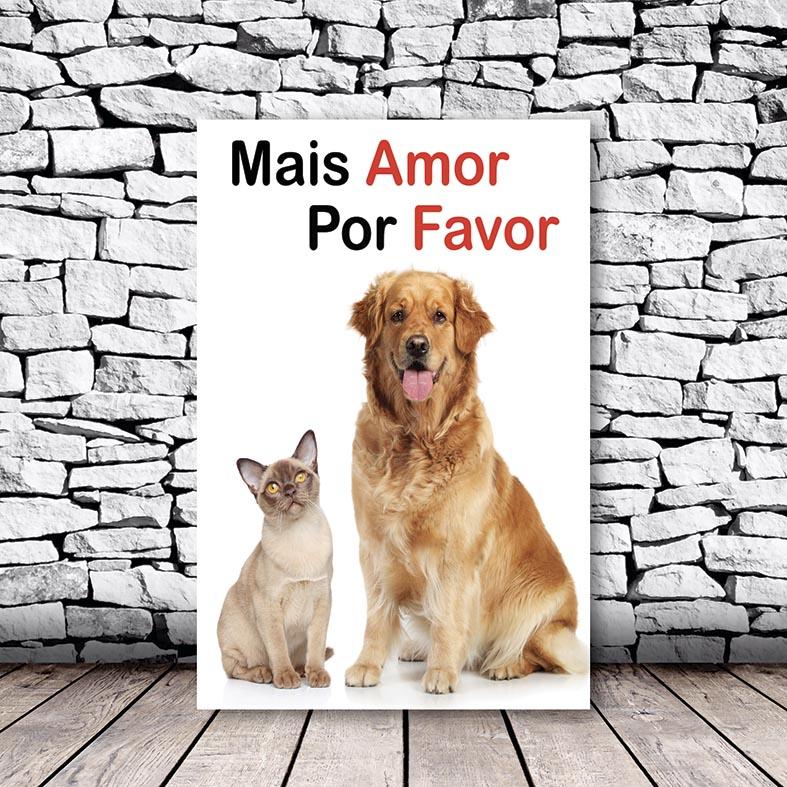 Placa Decorativa Gato e Cachorro