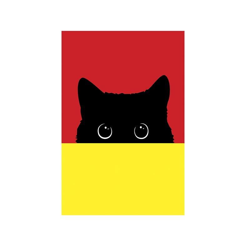 Placa Decorativa Gato Preto Vermelho e Amarelo