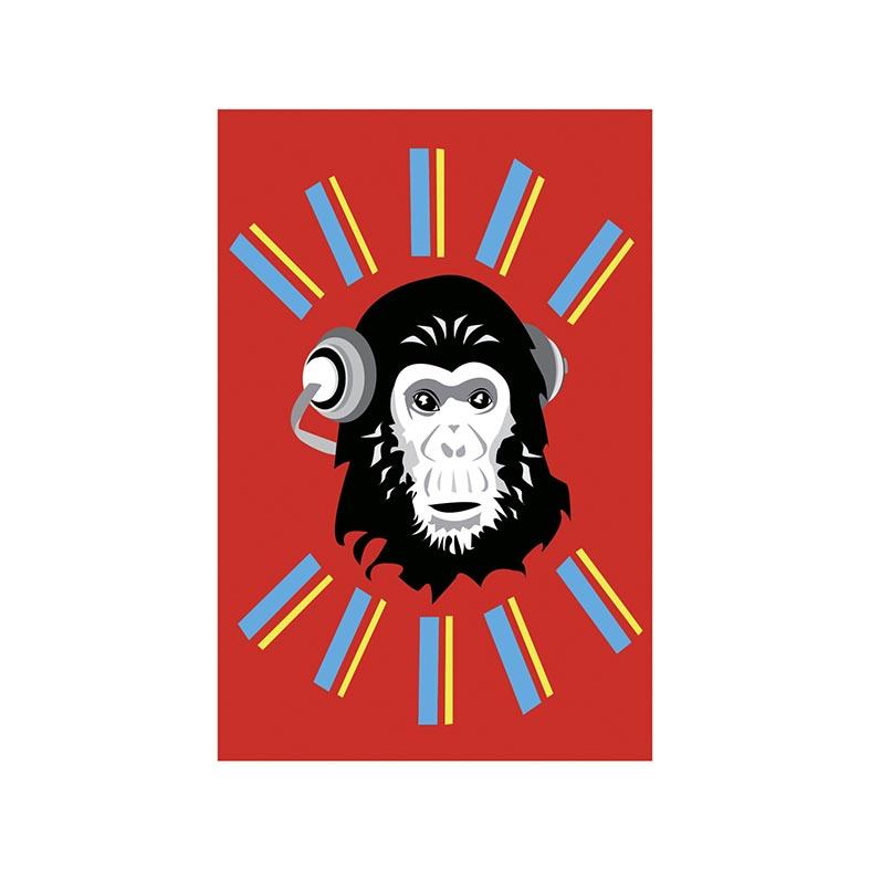 Placa Decorativa Macaco ouvindo musica