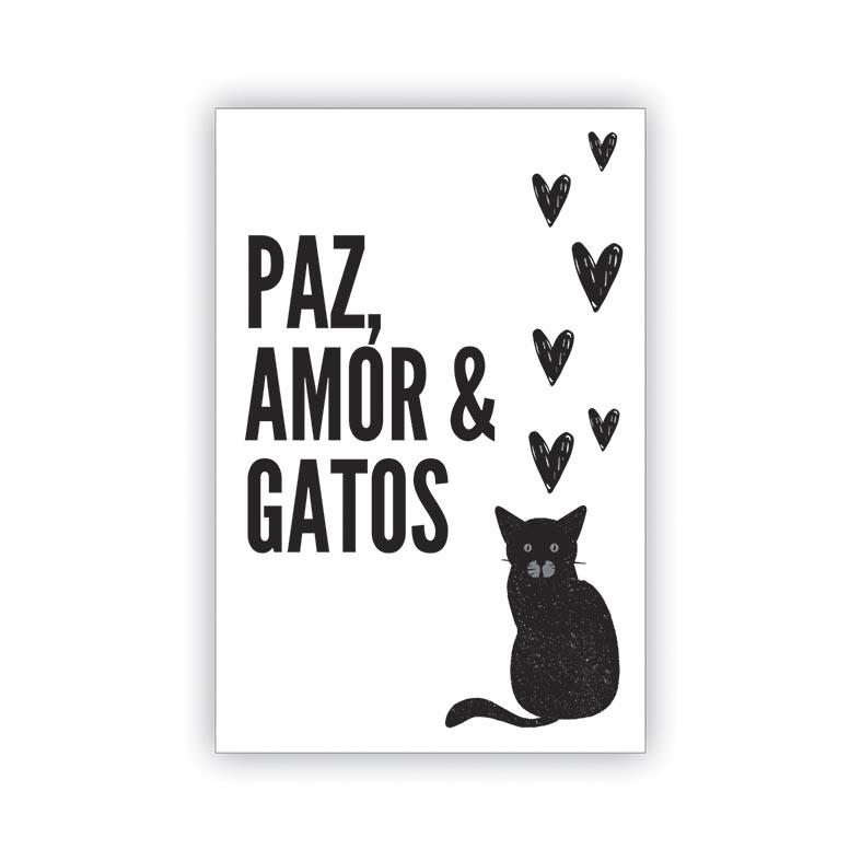 Placa Decorativa Paz Amor e Gatos