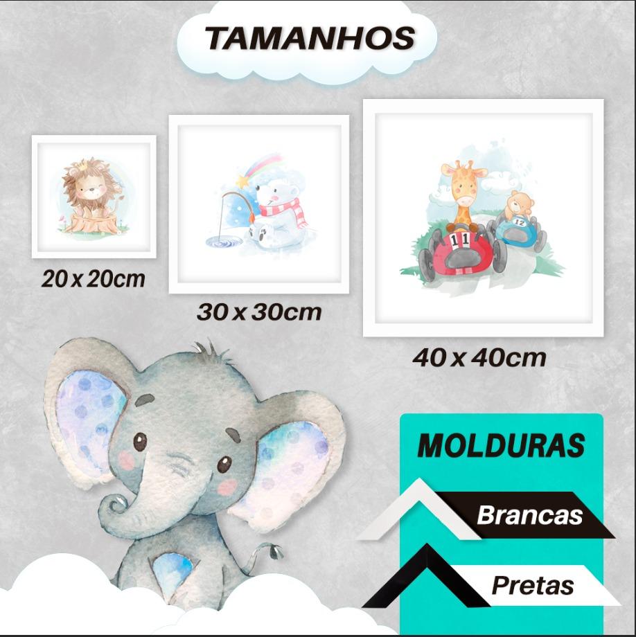 Quadro Decorativo Infantil Alce / Cervo Delicado  Borboleta e Passarinho