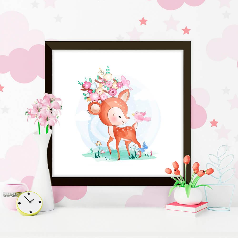 Quadro Decorativo Infantil Alce / Cervo Delicado Flores Rosas