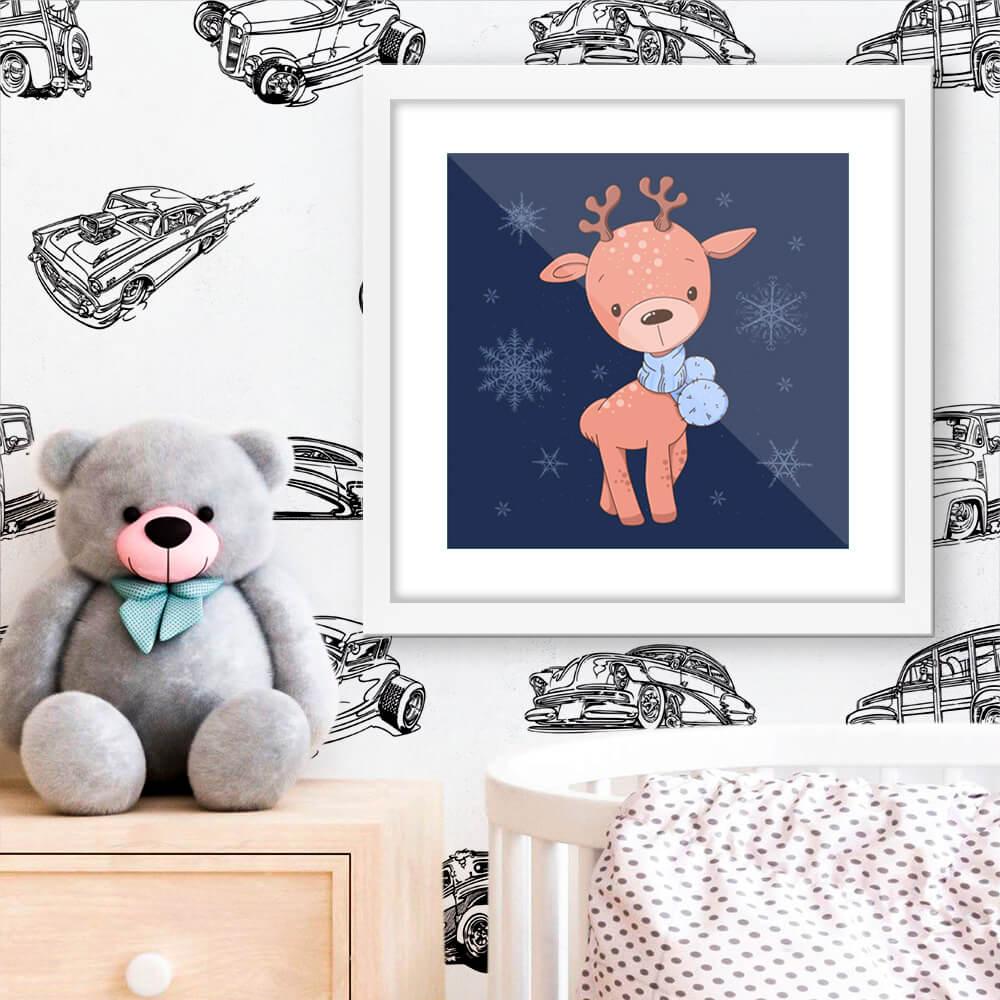 Quadro Decorativo Infantil Alce / Cervo Delicado Inverno
