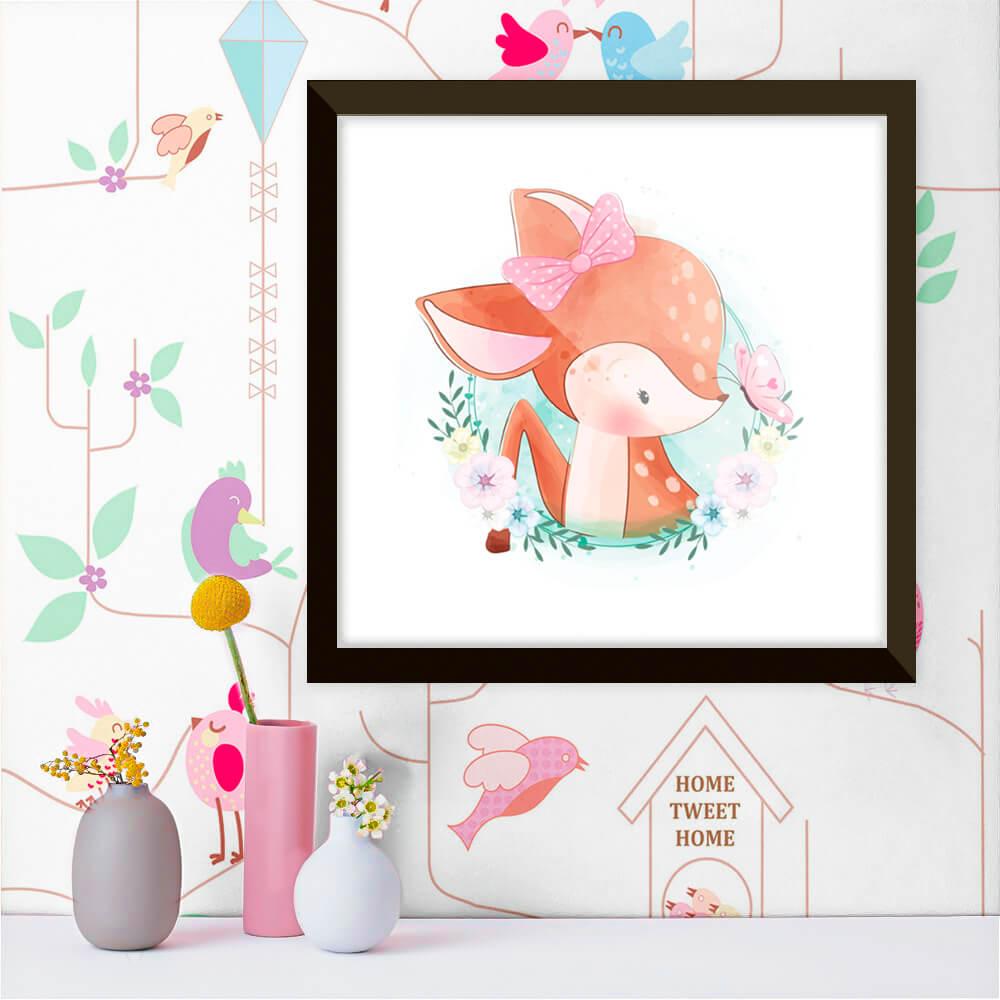 Quadro Decorativo Infantil Alce / Cervo Delicado Laço Rosa e Borboleta