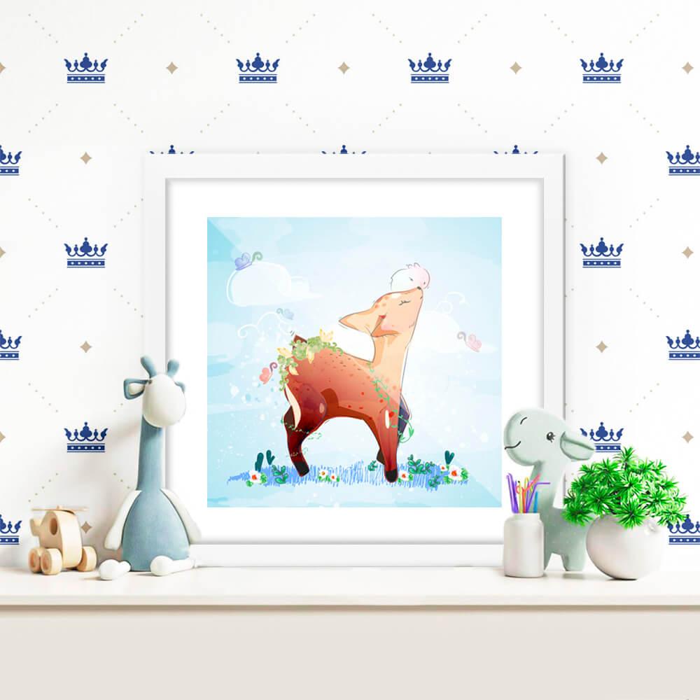 Quadro Decorativo Infantil Alce / Cervo Delicado  No Fundo Azul