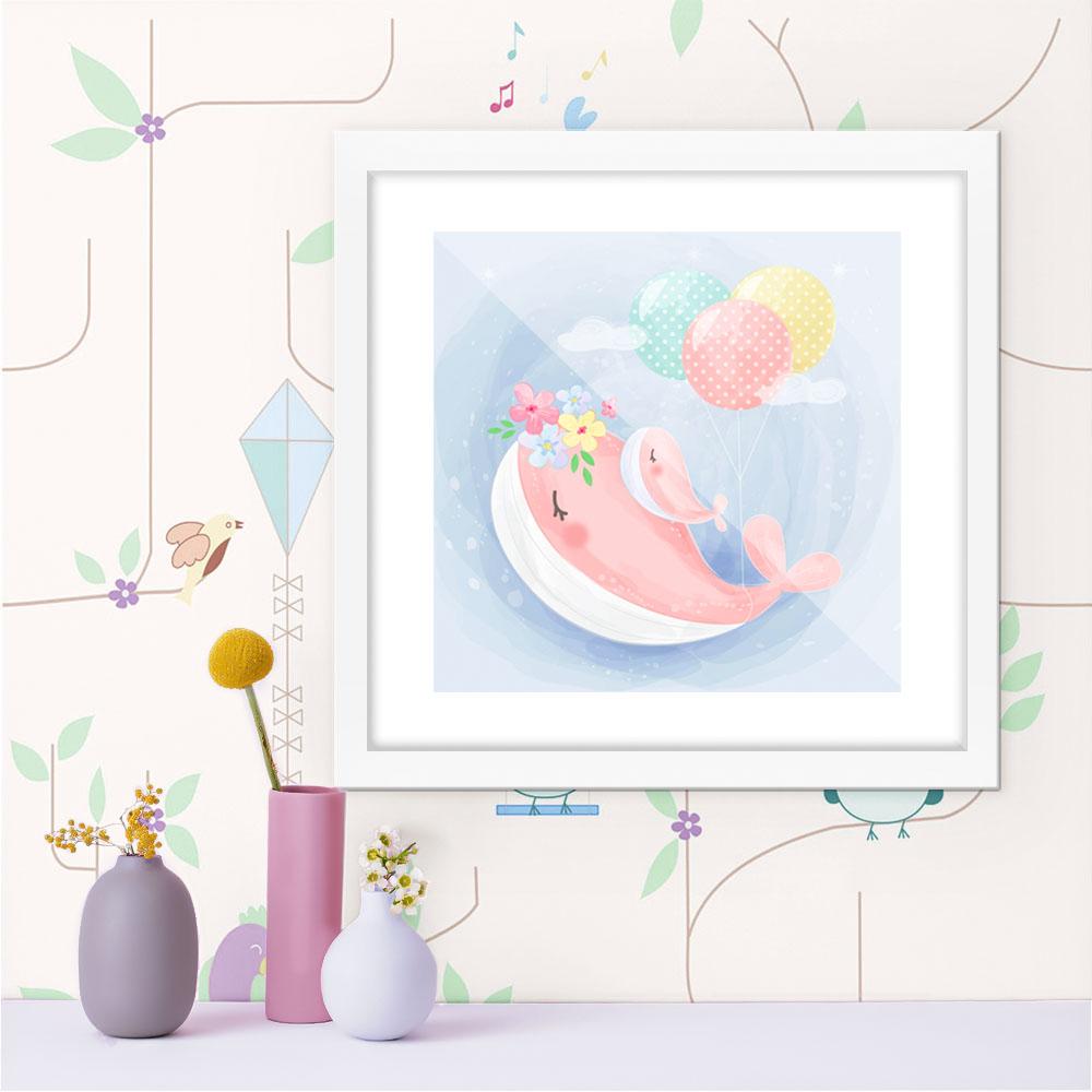 Quadro Decorativo Infantil Baleia Com Balões No Fundo Azul
