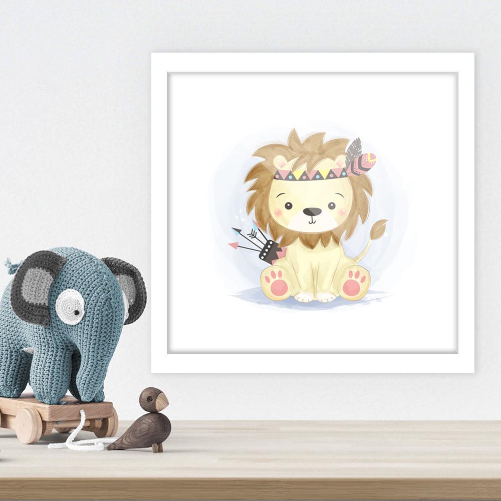Quadro Decorativo Infantil Desenho Leão No Fundo Branco