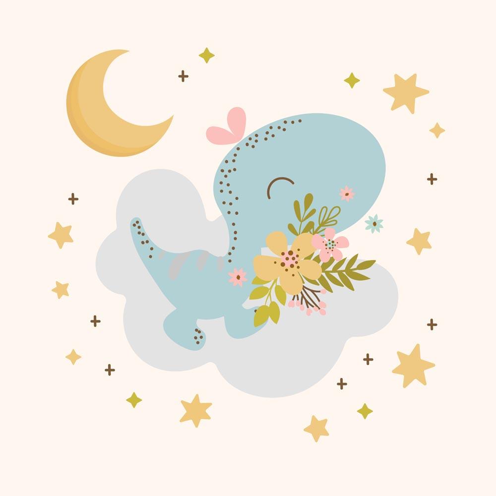 Quadro Decorativo Infantil Dinossauro Com Lua e Estrelas
