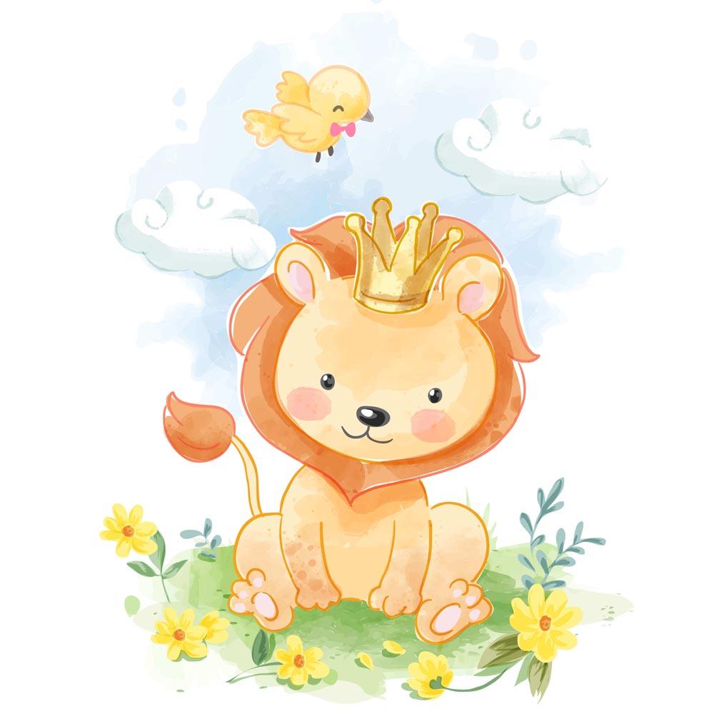 Quadro Decorativo Infantil Leão No Campo com Passarinho e Nuvens