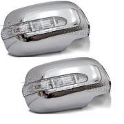 Capa Aplique Cromado C/ pisca de LED para Retrovisor Hilux 2005 a 2011