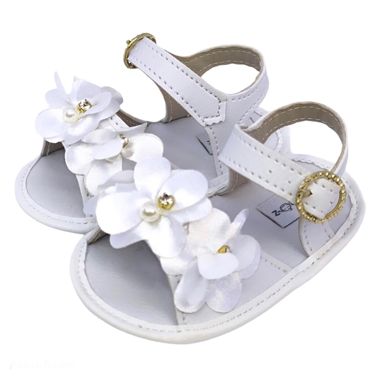 Sandália Baby Branca Florzinha