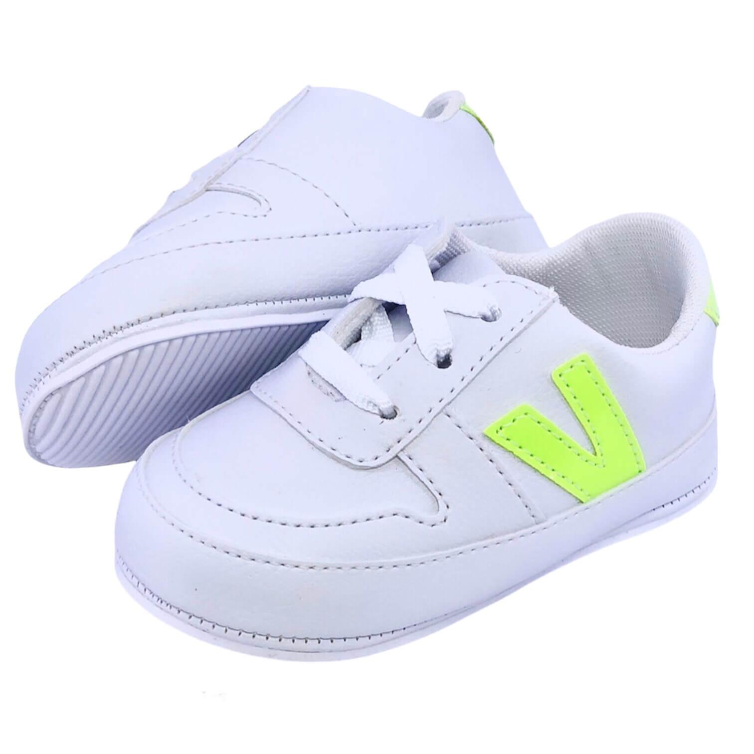 Tênis Vizz Branco e Neon Unissex