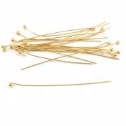 AC488 - Alfinete Bolinha 5cm Banhado Cor Dourado - 12Unids
