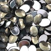 CHT1039 - Chaton Oval 10x14 Black Diamond - 6Unids