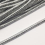 CRM005- Cordão Revestido Metalizado de Poliester 4mm Prata - 1metro