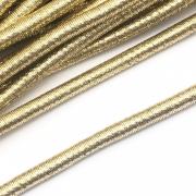 CRM010 - Cordão Revestido Metalizado de Poliester 6mm Dourado - 1metro