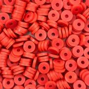 DF09 - Disco Fimo Emborrachado Vermelho  6mm - 01Fio
