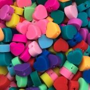 DF50 - Fimo Emborrachado Coração Cores Variadas - 20Unids