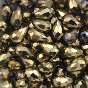 GT130 - Gota Cristal Dourado 15mm - 6Unids