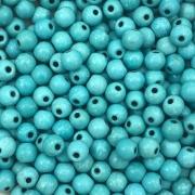 PN42 - Bola Pedra Natural Howlita Turquesa Lisa 6mm - 30Unids