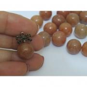 PN66 - Pedra Natural Meio Furo Quartz Red 12mm - 02Unid