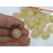 PN67- Pedra Natural Meio Furo Jade Amarelo 12mm - 02Unid