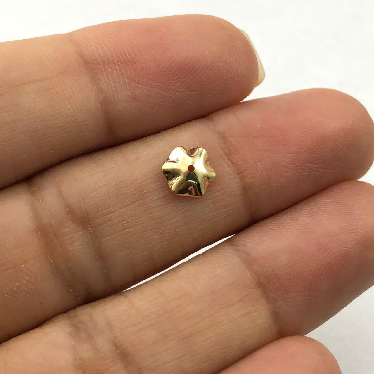 AC352 - Tulipa Cestinha 6mm Folheado 1mls Ouro - 3Grs
