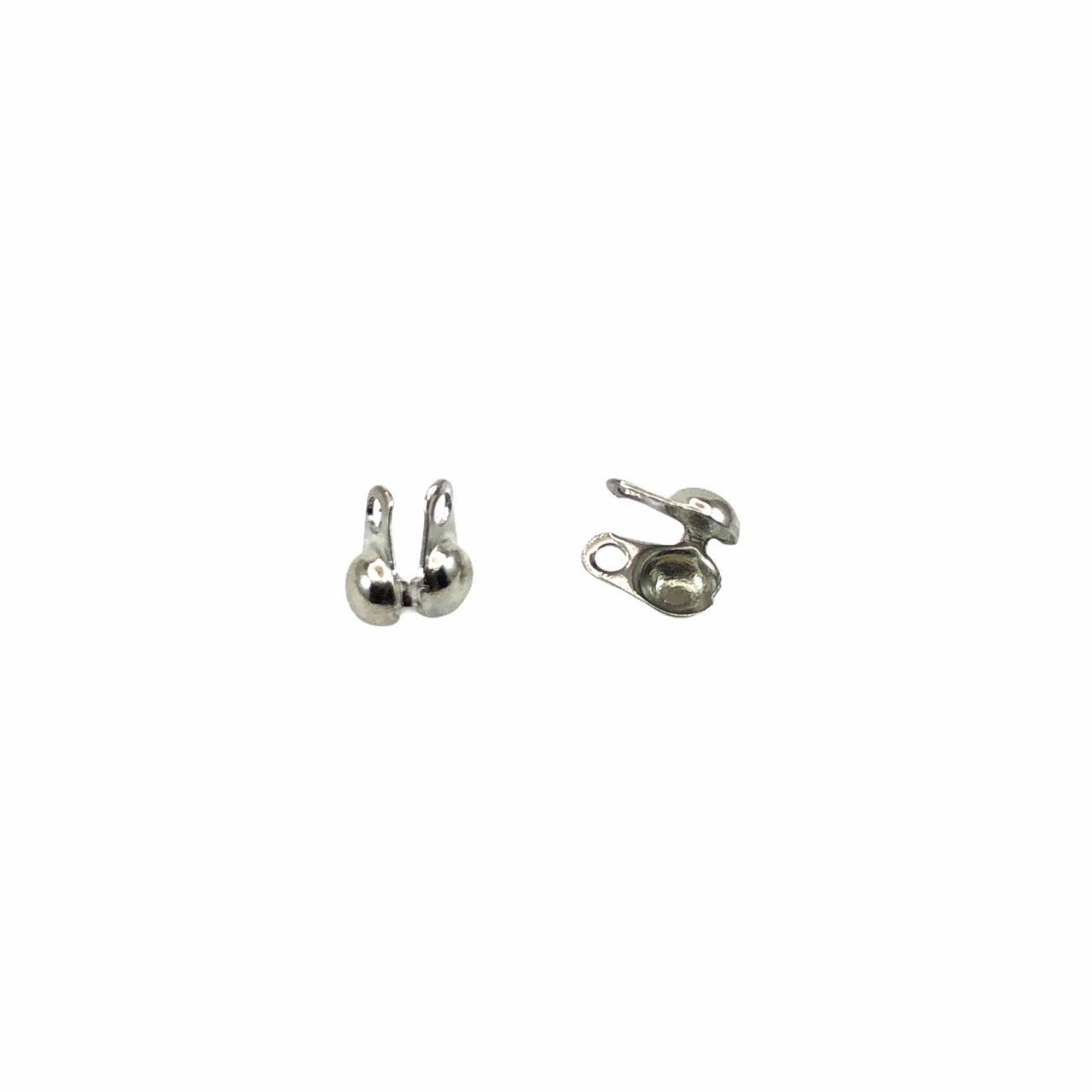 AC437 - Tip Corrente de bolinha 1.5 Banhado Cor Prata - 10Unids