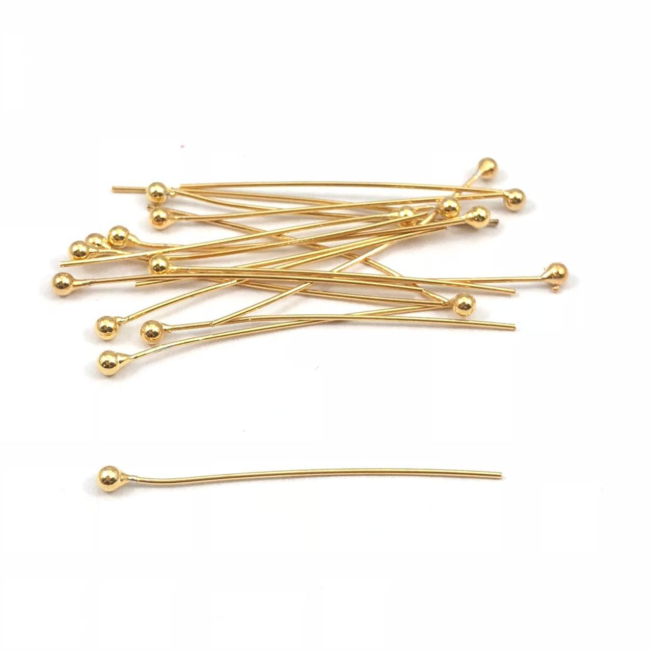 AC486 - Alfinete Bolinha 3cm Banhado Cor ouro - 12Unid