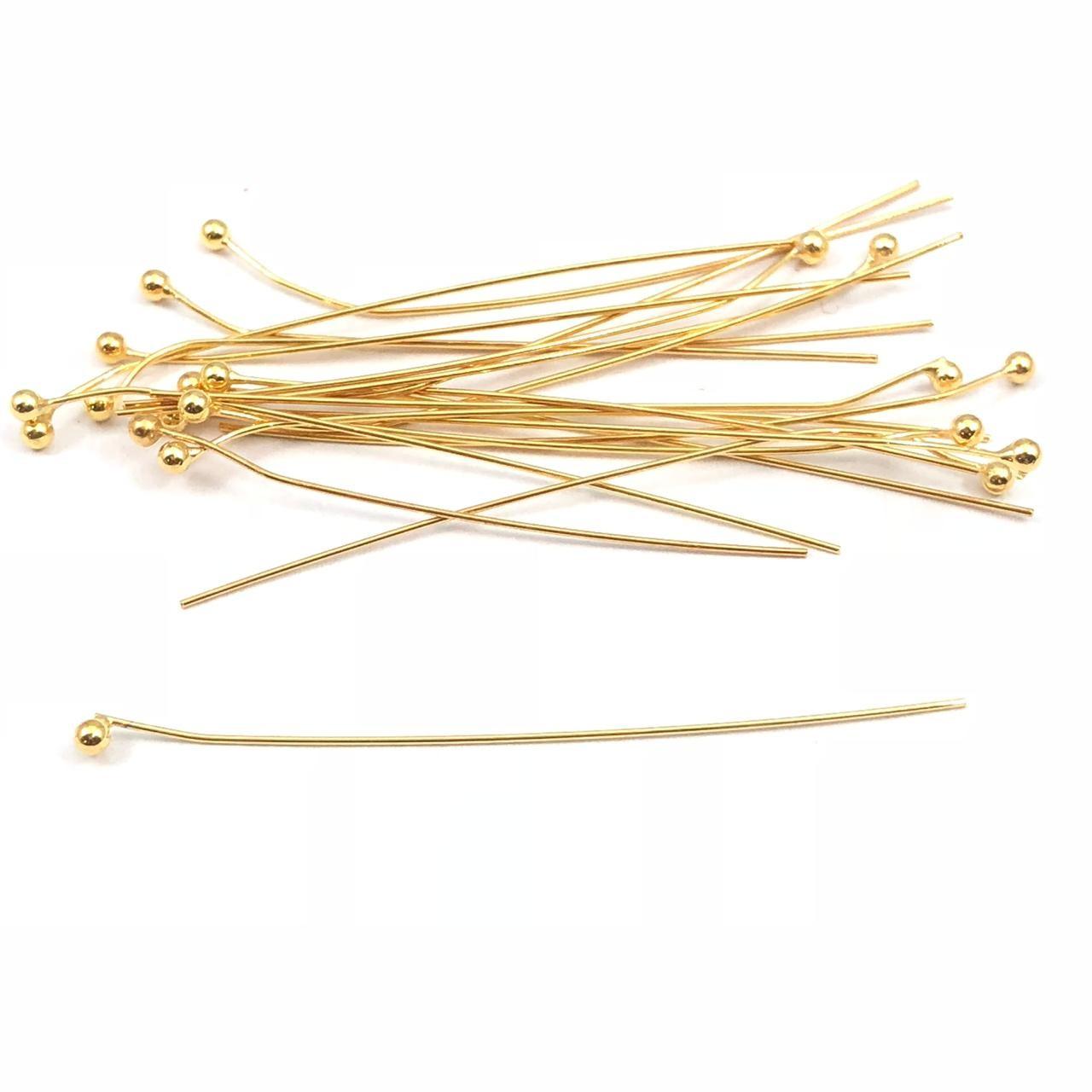 AC488 - Alfinete Bolinha 5cm Banhado Cor Ouro - 12Unids