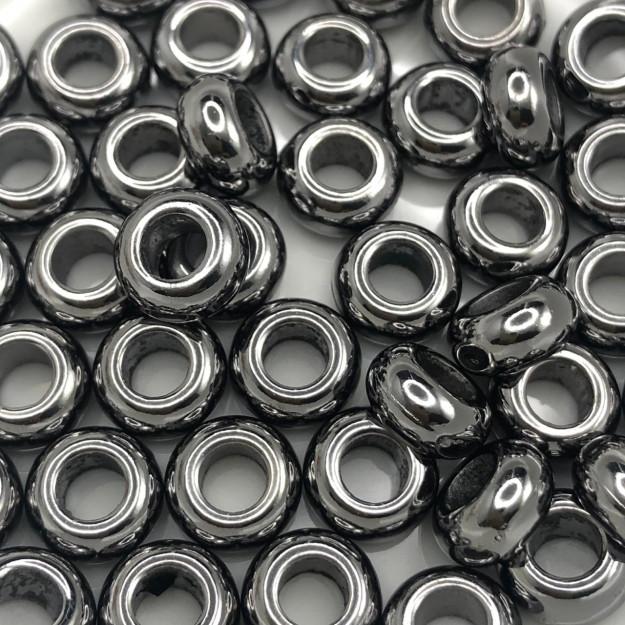 AC605 - Conta ABS Anilha 8mm Banho Cor Grafite - 3Grs