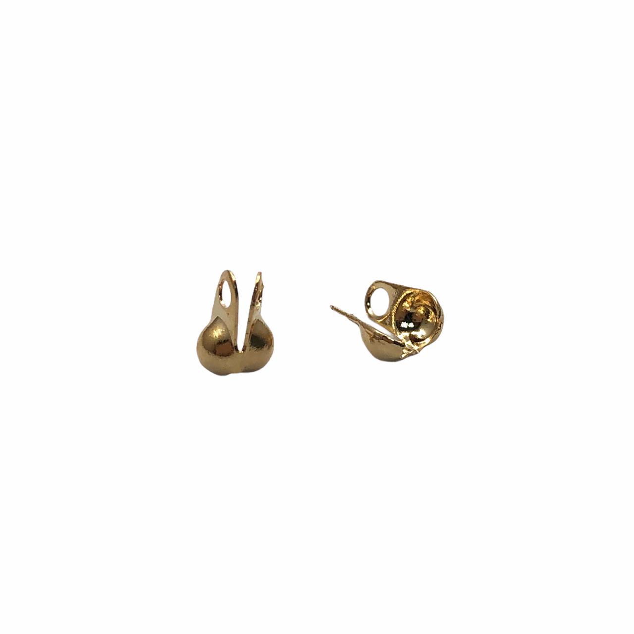 AC705 - Tip Corrente de Bolinha 2.4mm Banhado Cor Dourado - 10Unids