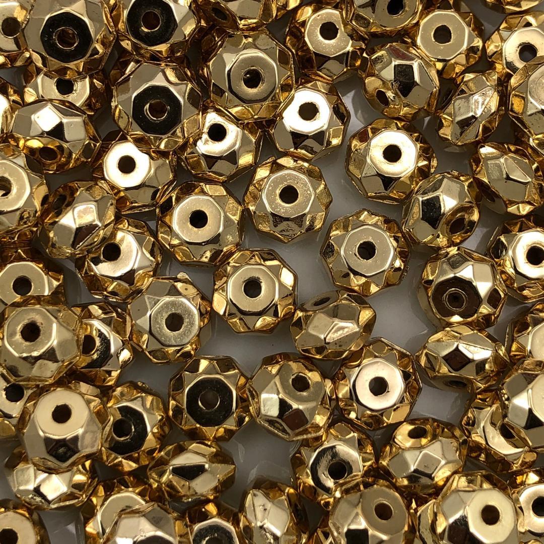 AC648 - Conta ABS Rondela 8mm Banhado Cor Dourado - 5Grs