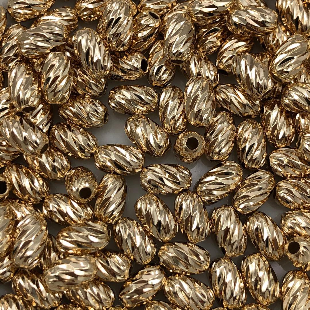 AC693 - Acessório Oval 5x8mm Banhado Cor Dourado - 10Unids