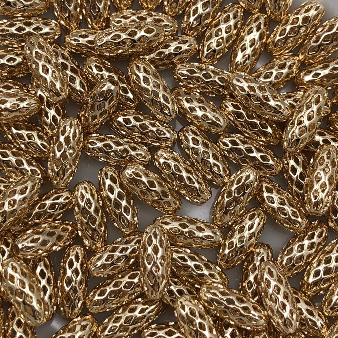 AC696 - Acessório Oval 5x11mm Banhado Cor Dourado - 6Unids