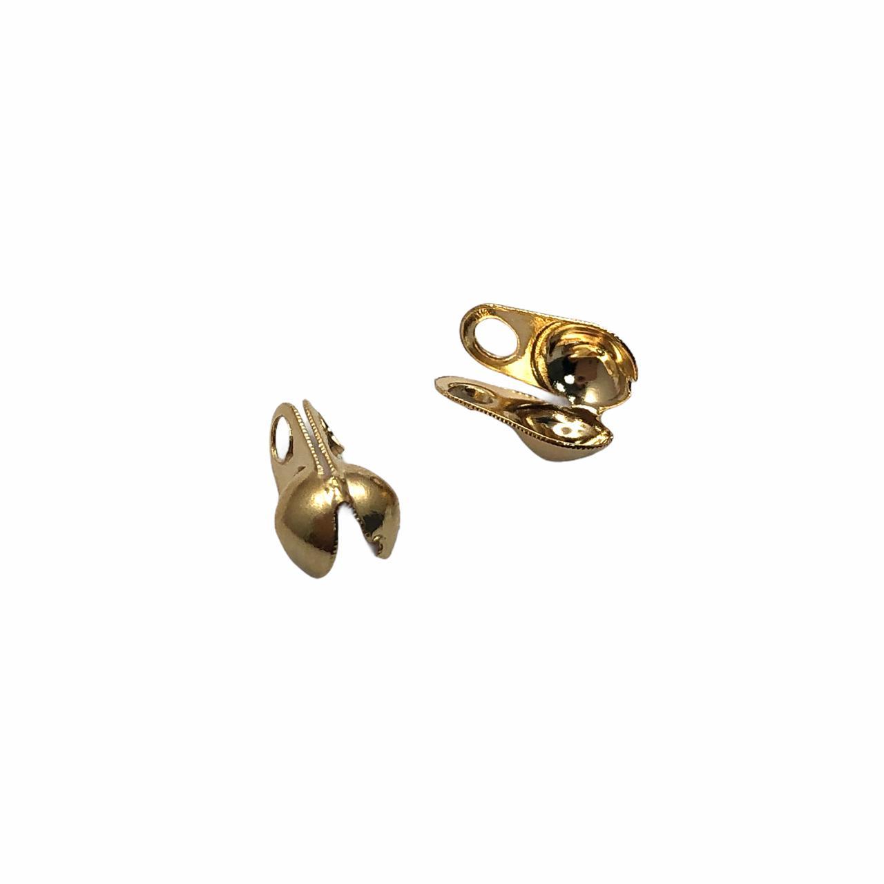 AC707 - Tip Corrente de Bolinha 3.2mm Banhado Cor Dourado - 10Unids