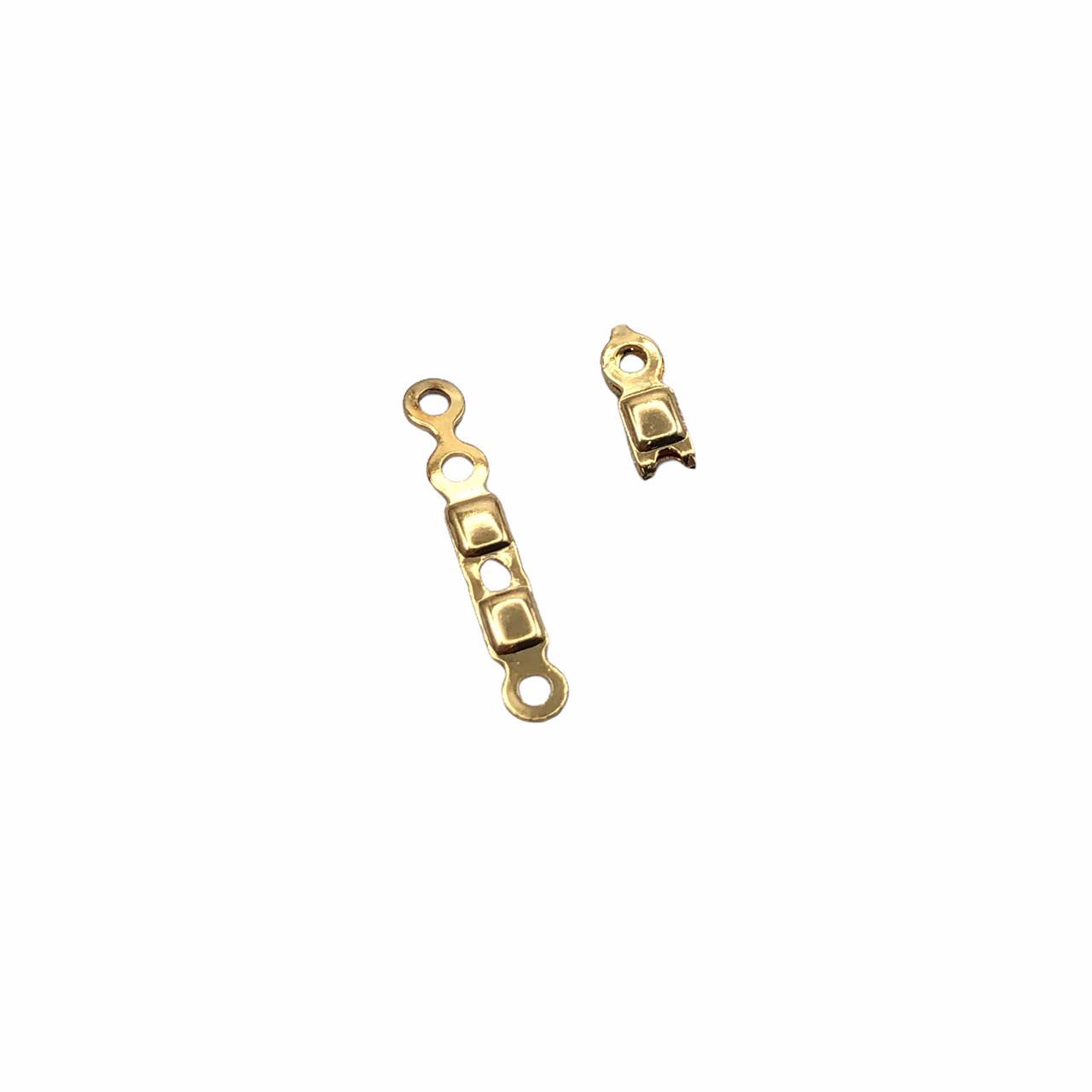 AC710 - Terminal Para Correntes E Fios 1mm Banhado Cor Dourado - 10Unids