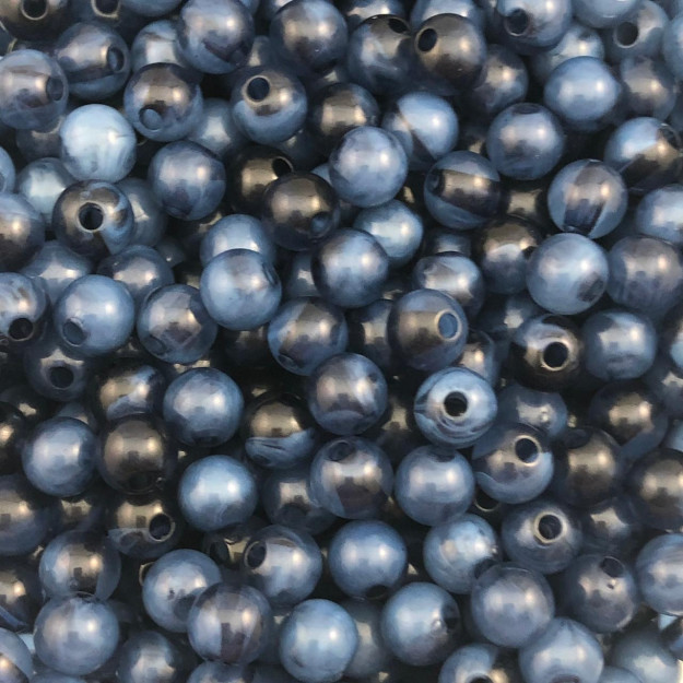 BOL237 - Bola Resina Azul Glaciada 8mm - 20Grs