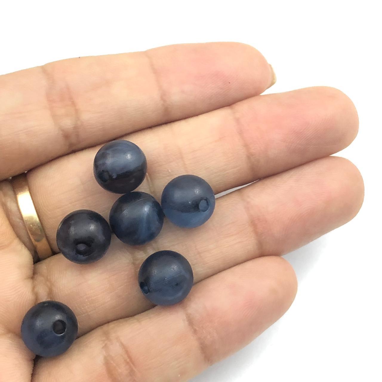 BOL248 - Bola Resina Azul Glaciada 10mm - 20Grs