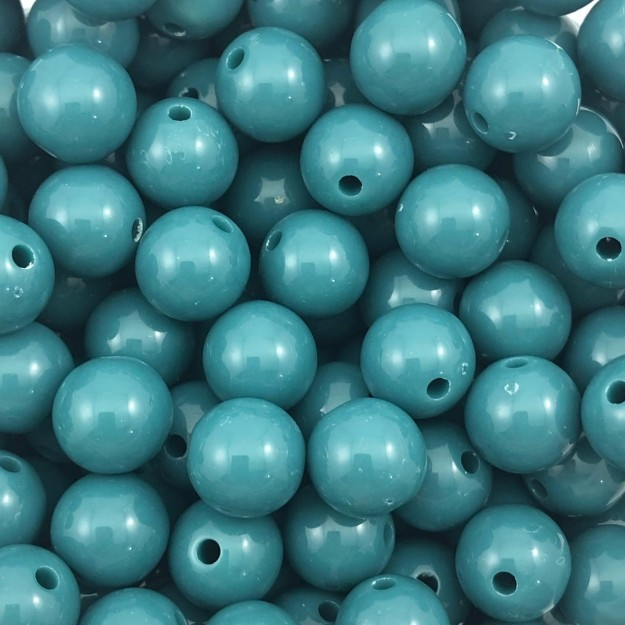 BOL337 - Bola Resina Verde Pavão 12mm - 20Gr